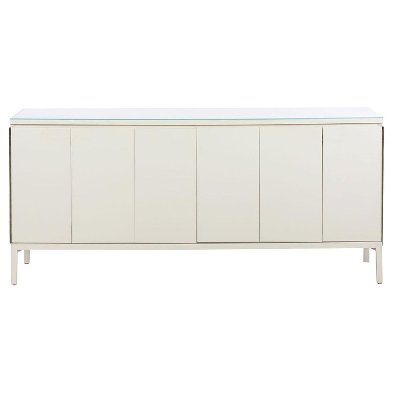 Modern White Lacquer Cabinet Credenza with Eight Drawers, circa 1980s For Sale