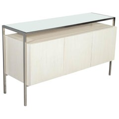 Modern White Lacquered Sideboard Console Stainless Steel