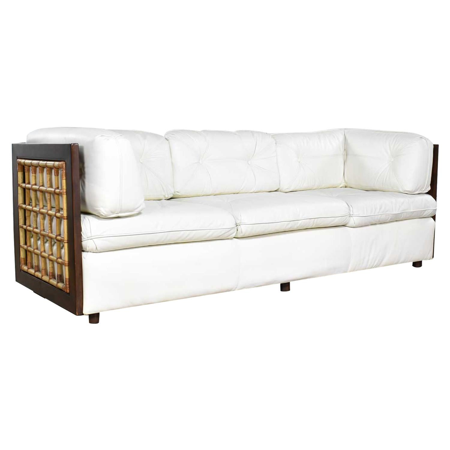Super Modern White Leather And Dark Wood Cube Case Sofa With Rattan Panel Inserts Onthecornerstone Fun Painted Chair Ideas Images Onthecornerstoneorg