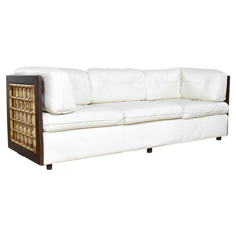 Pleasing Modern White Leather And Dark Wood Cube Case Sofa With Rattan Panel Inserts Ocoug Best Dining Table And Chair Ideas Images Ocougorg