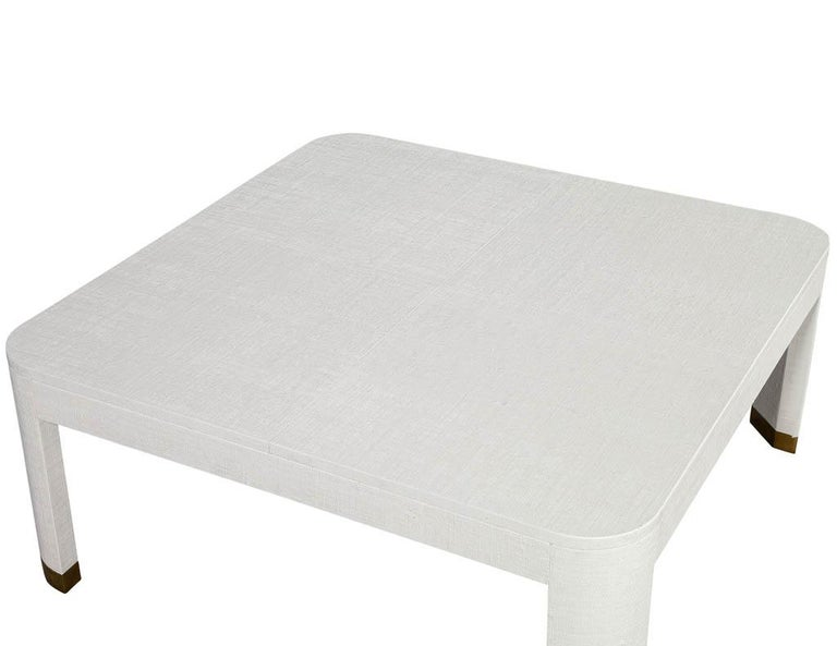 Contemporary Modern White Linen Clad Coffee Table For Sale