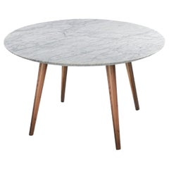 Modern White Marble Dining Table with Walnut Base