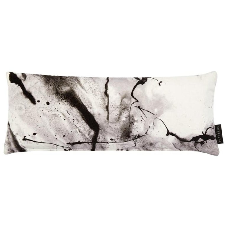 Modern White Marble-Look Cotton Velvet Lumbar Cushion by 17 Patterns For Sale