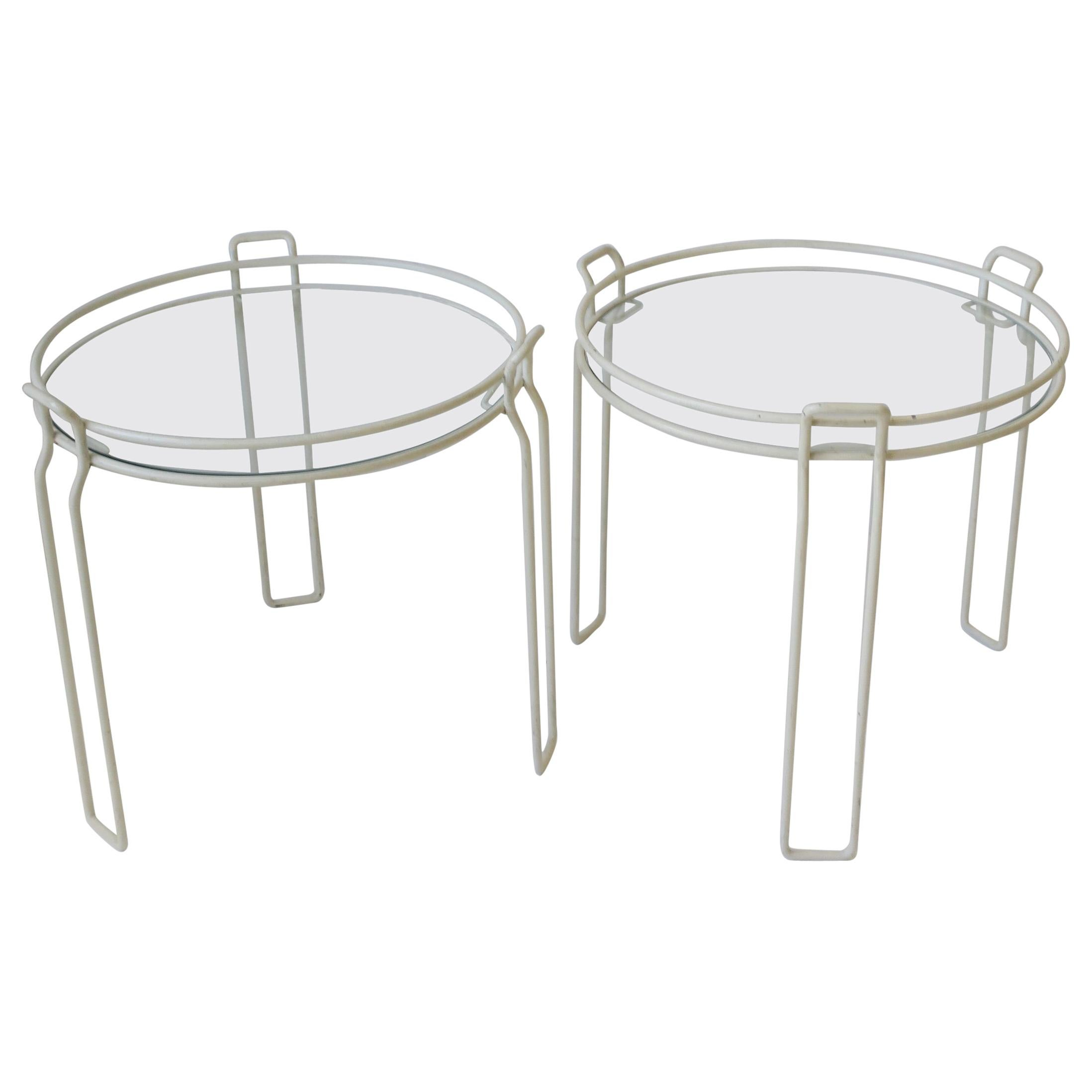 Modern White Glass Side, Nesting, or Stacking Tables