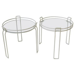 Modern White Enamel and Glass Side or Nesting Tables