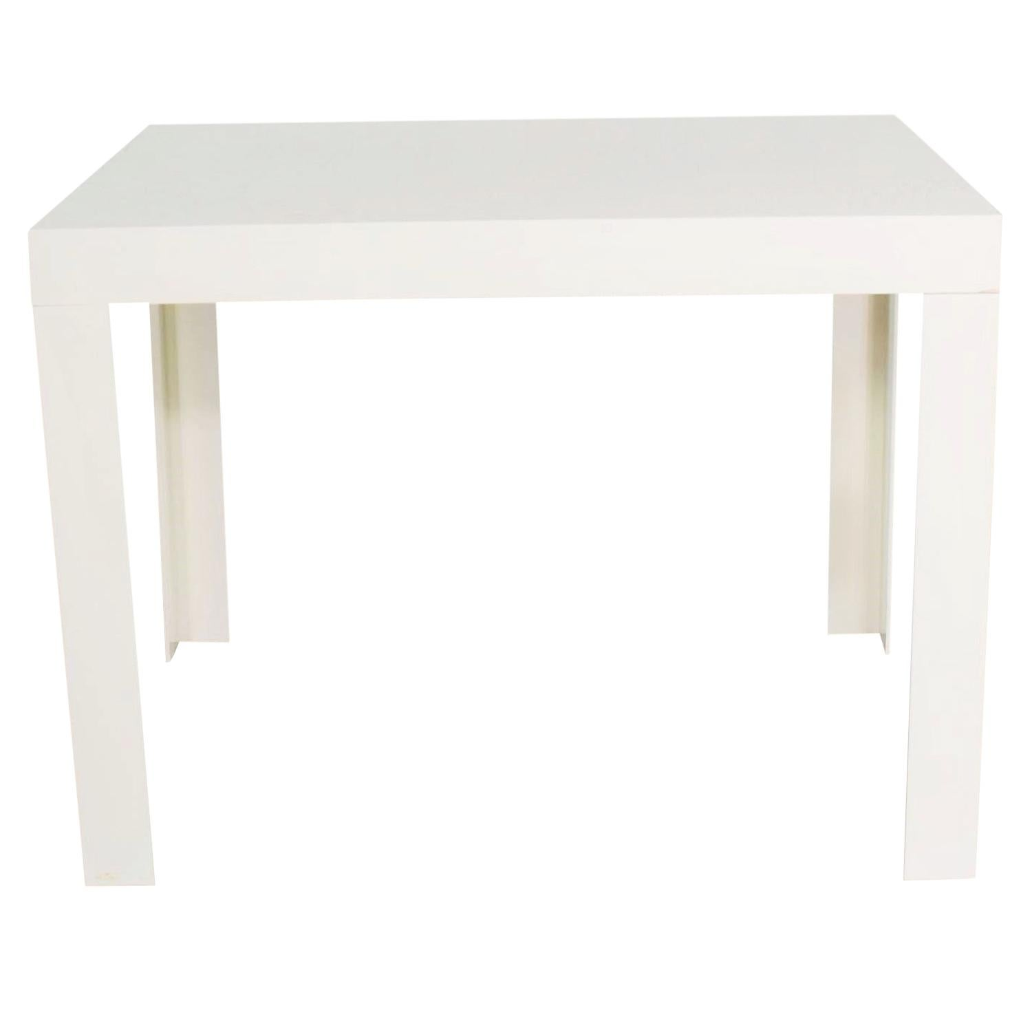 Modern White Molded Plastic Rectangular Parsons Style Side Table Style Syroco