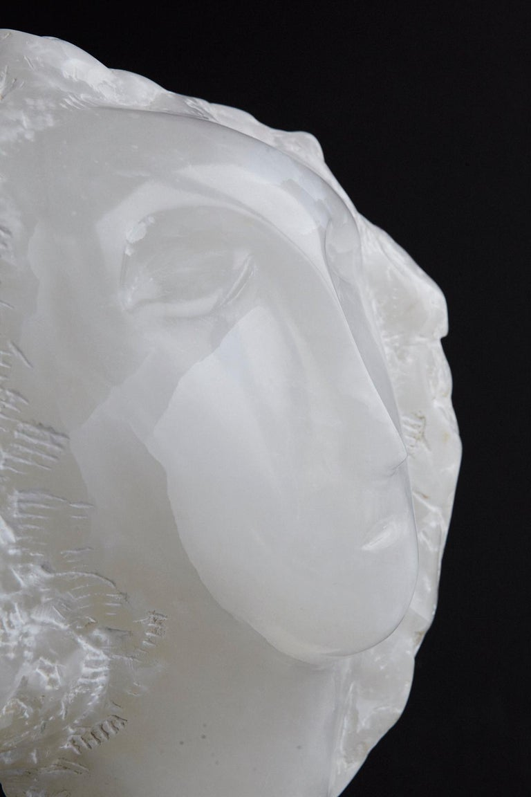 Modern White Onyx Sculpture of a Woman's Face on Marble Base, Unsigned For Sale 5