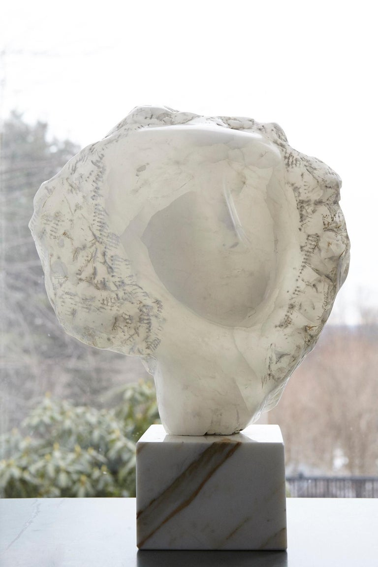 Modern White Onyx Sculpture of a Woman's Face on Marble Base, Unsigned For Sale 8