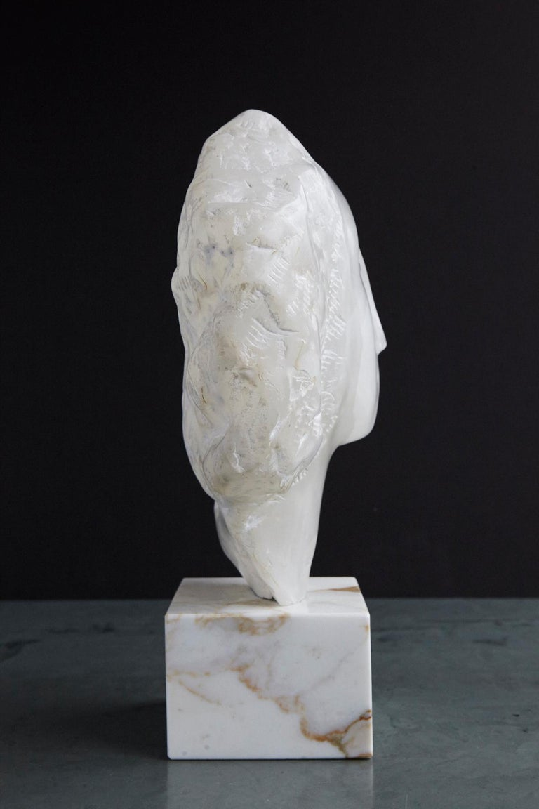 American Modern White Onyx Sculpture of a Woman's Face on Marble Base, Unsigned For Sale