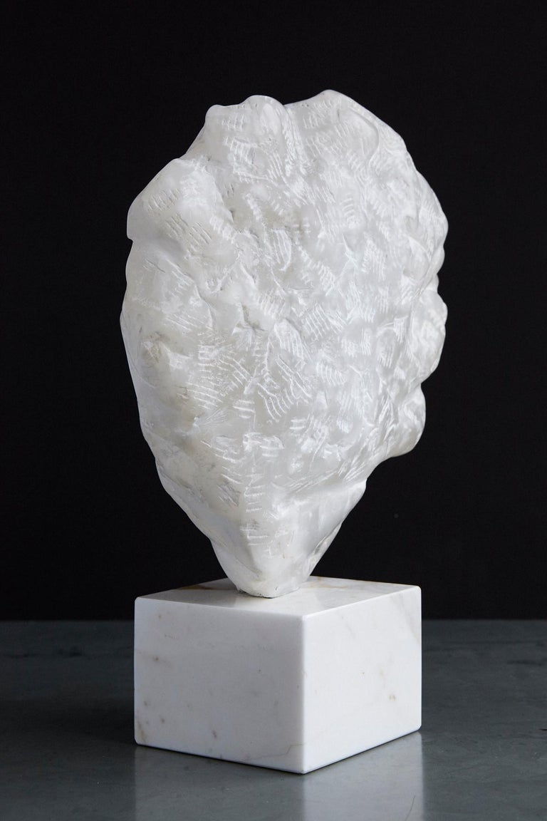 20th Century Modern White Onyx Sculpture of a Woman's Face on Marble Base, Unsigned For Sale