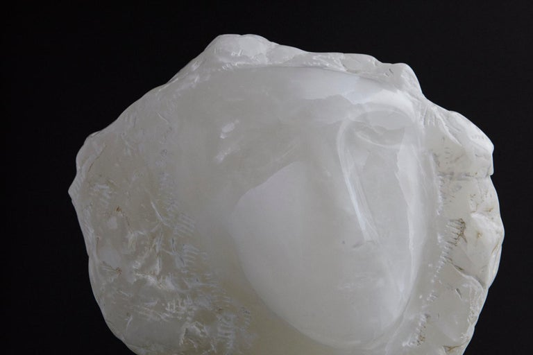 Modern White Onyx Sculpture of a Woman's Face on Marble Base, Unsigned For Sale 3