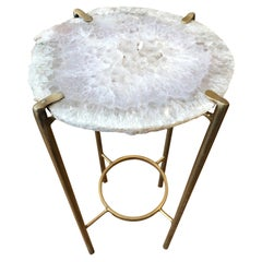Modern White Quartz End Table