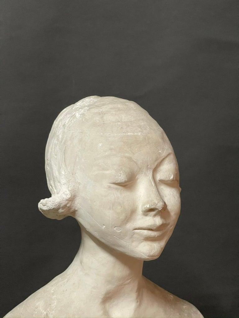 Mid-Century Modern Modern White Signed Plaster Italian Sculpture For Sale