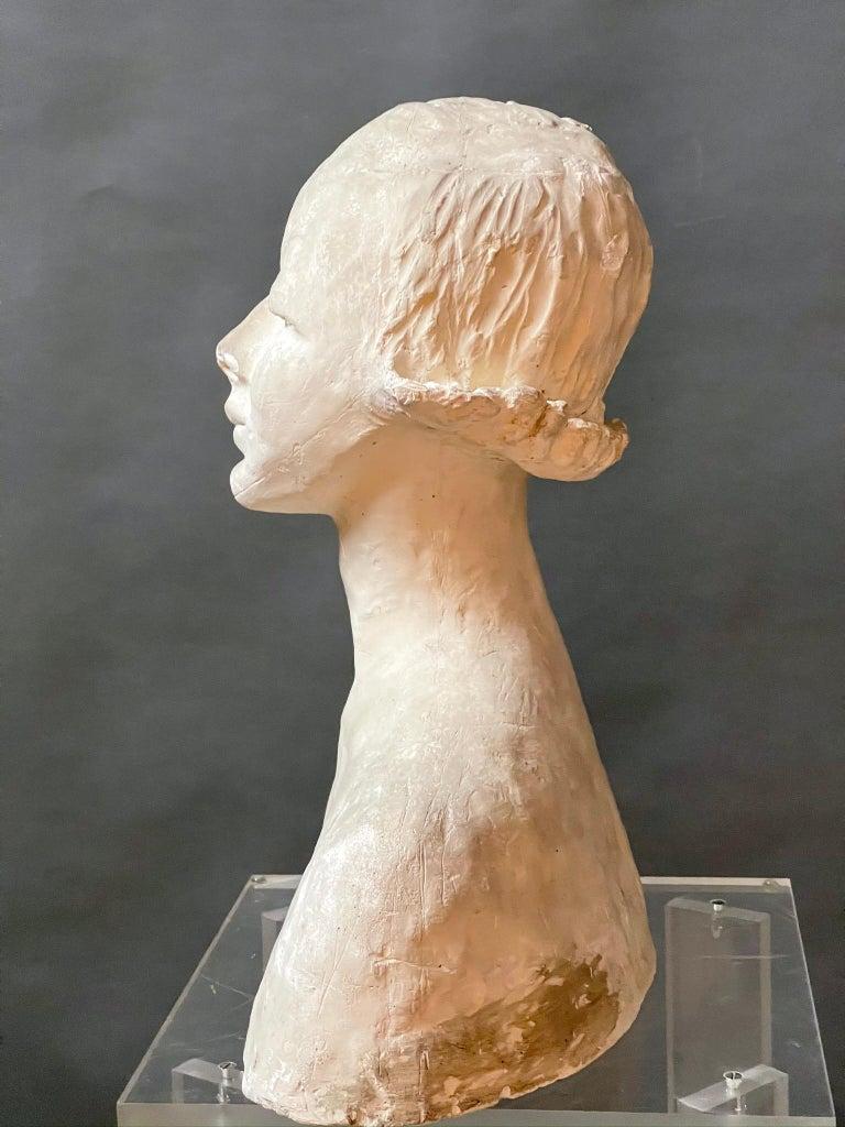 Molded Modern White Signed Plaster Italian Sculpture For Sale