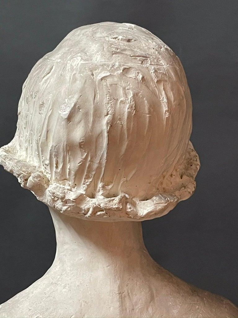 Mid-20th Century Modern White Signed Plaster Italian Sculpture For Sale