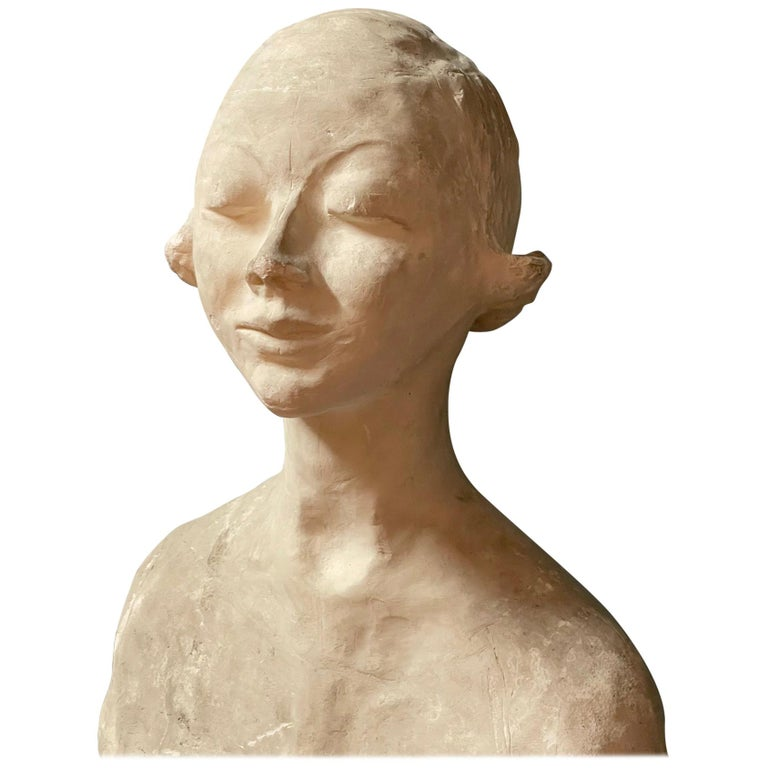 Modern White Signed Plaster Italian Sculpture For Sale