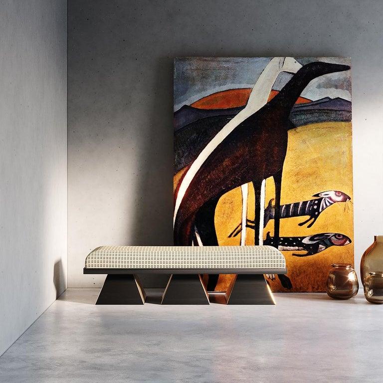 Modern White Velvet Upholstered Bench with Black Wenge Legs Gold Stainless Steel In New Condition For Sale In Porto, PT