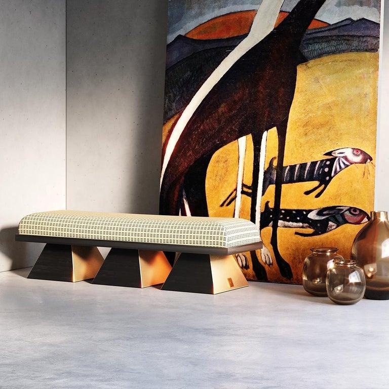 Contemporary Modern White Velvet Upholstered Bench with Black Wenge Legs Gold Stainless Steel For Sale
