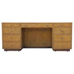 Modern Widdicomb Campaign Style Burl & Brass Nine-Drawer Executive Desk