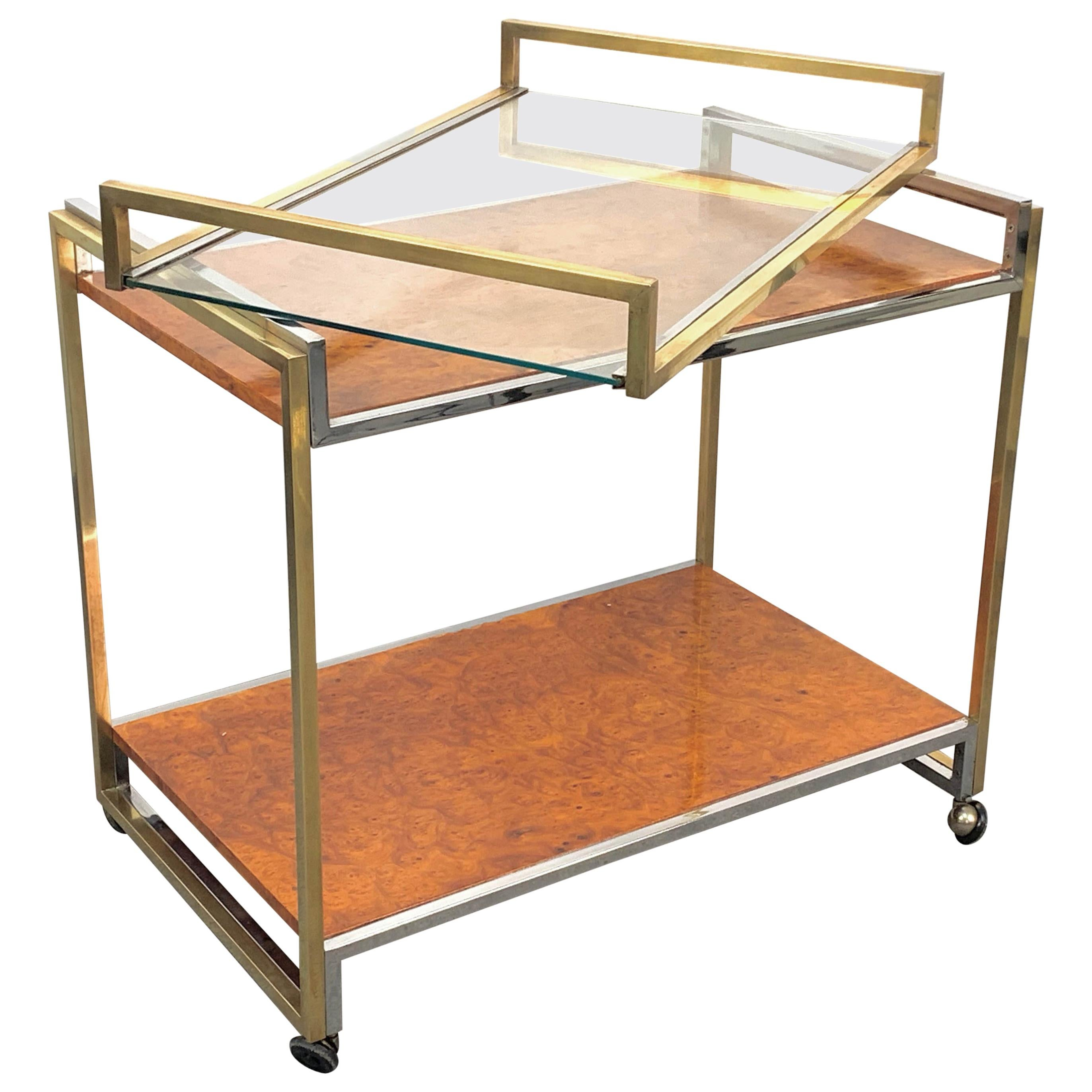 Modern Willy Rizzo Brass and Briar Italian Trolley with Service Tray, 1980s