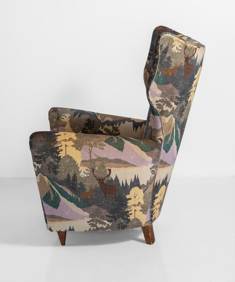 Modern Wing Chair, Italy, circa 1950 In Good Condition In Culver City, CA