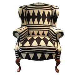 Modern Wingback Armchair in Designers Guild Ralph Lauren Bambara Cotton Linen