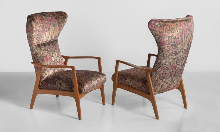 Mid-Century Modern Modern Wingback Armchairs, France, circa 1950 For Sale