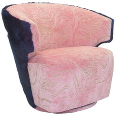 Modern Winged Swivel Chair with Pink Cut Velvet and Cobalt Faux Fur