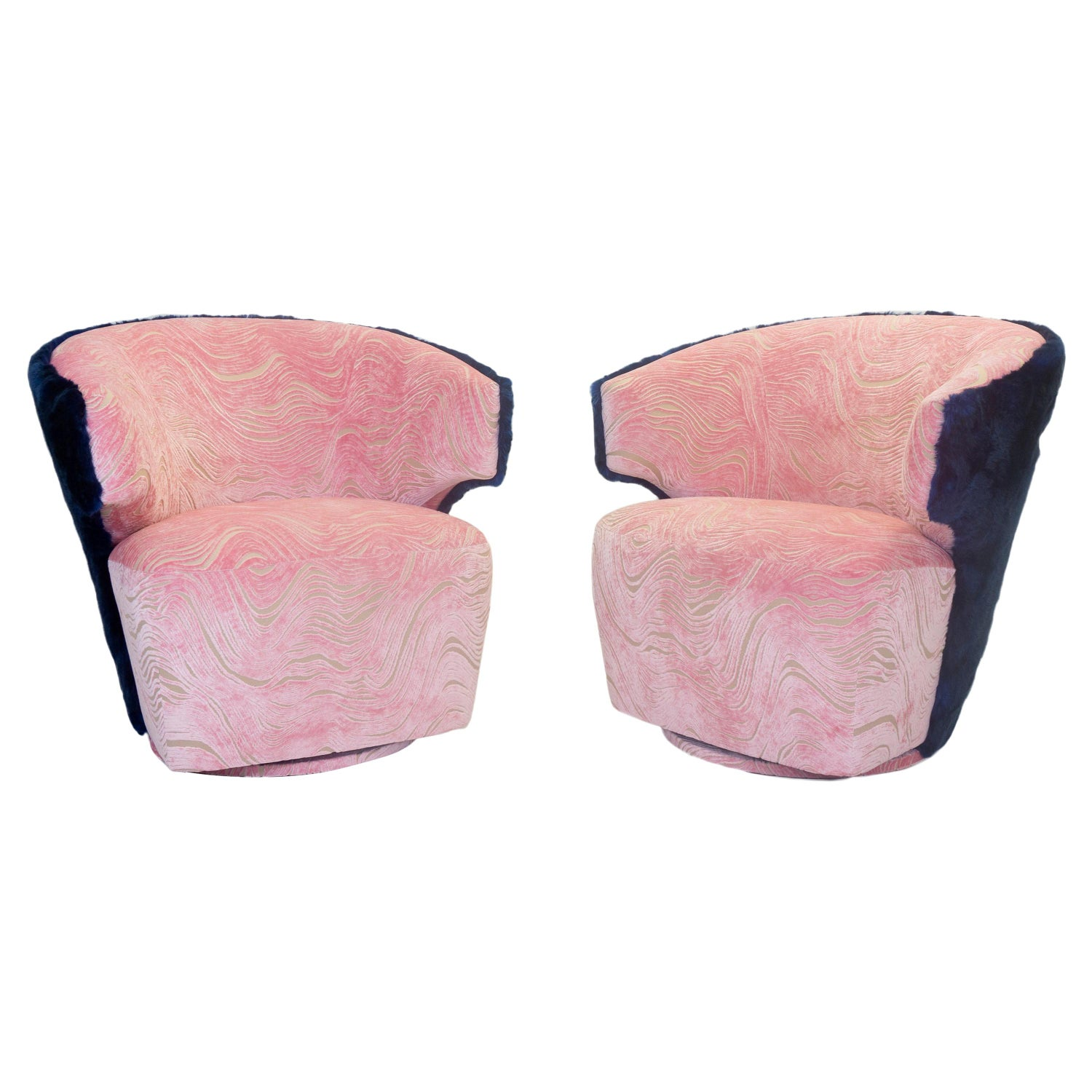 Amazing Modern Winged Swivel Chair With Wavy Cut Velvet Pattern And Blue Faux Fur Pabps2019 Chair Design Images Pabps2019Com
