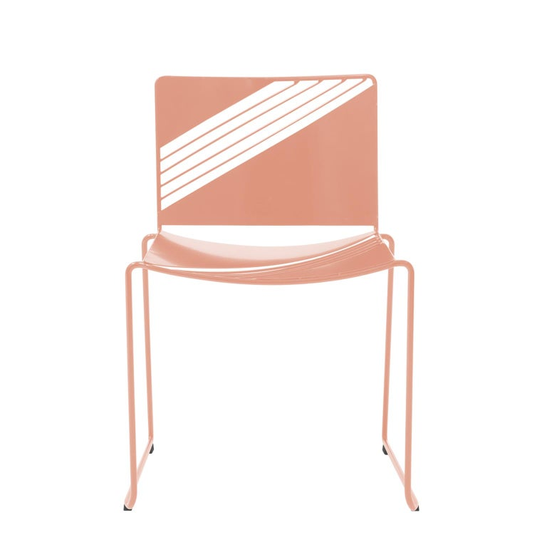 Inspired by French cafe furniture commonly found in Paris, the Cafe Chair draws from its predecessor by reinterpreting the linear nature of the design.   Strong angles paired with sheet metal add a contemporary flair while still being comfortable