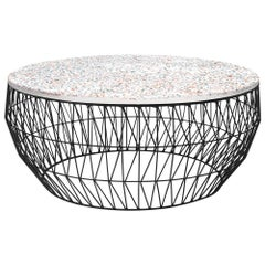 Modern Wire Coffee Table in Black with Terrazzo Top by Bend Goods