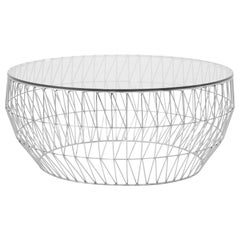 Modern Wire Coffee Table in Chrome with Clear Glass Top by Bend Goods