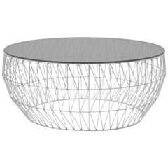 Modern Wire Coffee Table in Chrome with Smoke Glass Top by Bend Goods