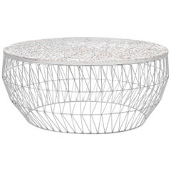 Modern Wire Coffee Table in Chrome with Terrazzo Top by Bend Goods