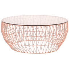Modern Wire Coffee Table in Copper with Clear Glass Top by Bend Goods