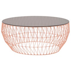 Modern Wire Coffee Table in Copper with Smoke Glass Top by Bend Goods