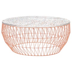 Modern Wire Coffee Table in Copper with Terrazzo Top by Bend Goods