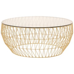Modern Wire Coffee Table in Gold with Clear Glass Top by Bend Goods