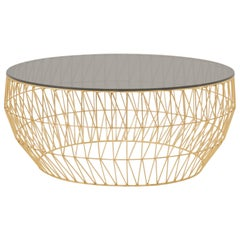 Modern Wire Coffee Table in Gold with Smoke Glass Top by Bend Goods