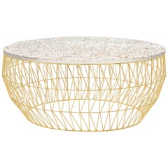 Modern Wire Coffee Table in Gold with Terrazzo Top by Bend Goods