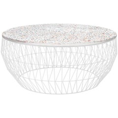 Modern Wire Coffee Table in White with Terrazzo Top by Bend Goods
