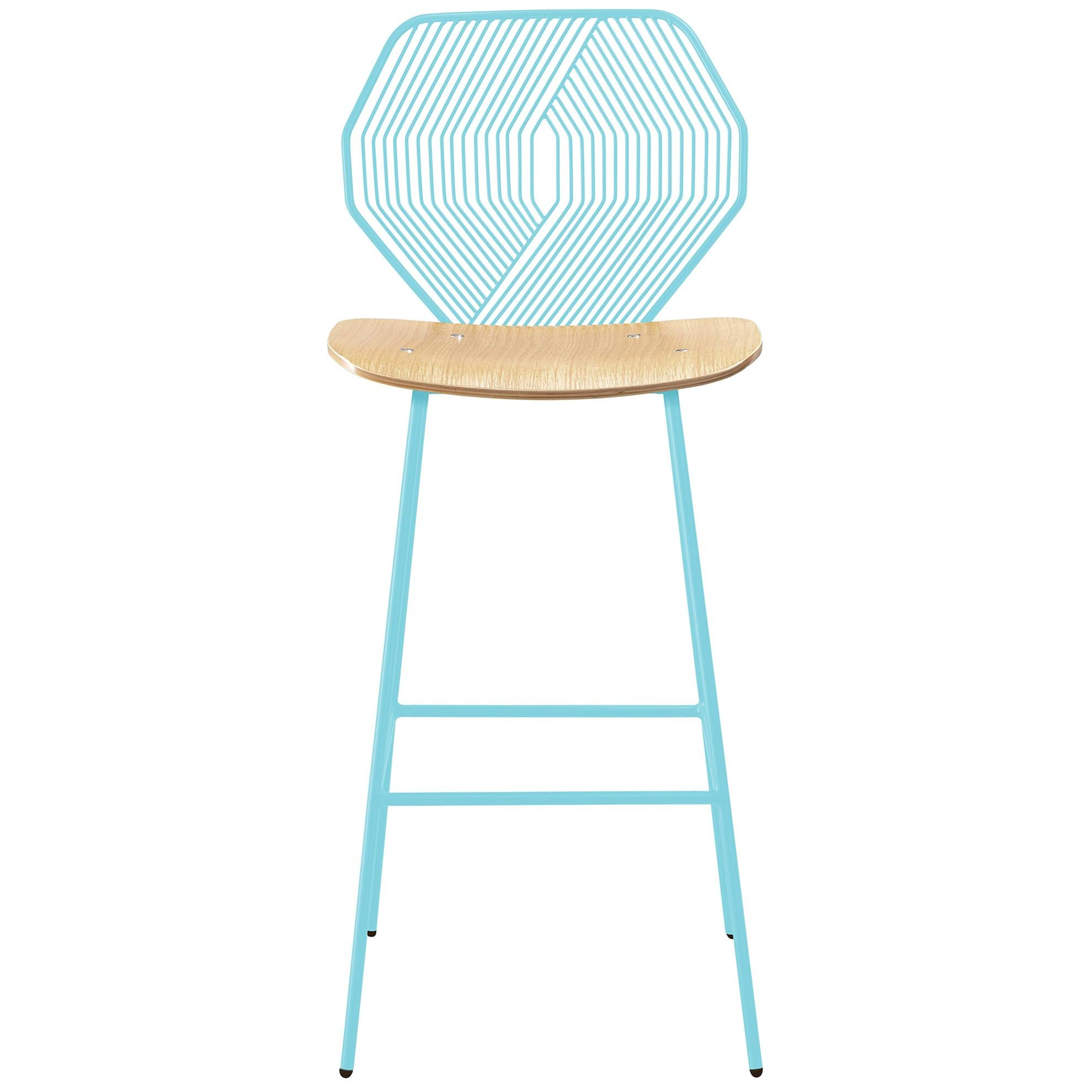 Modern Wire Counter Stool with a Wood Seat, Wood and Wire Counter Stool in Aqua