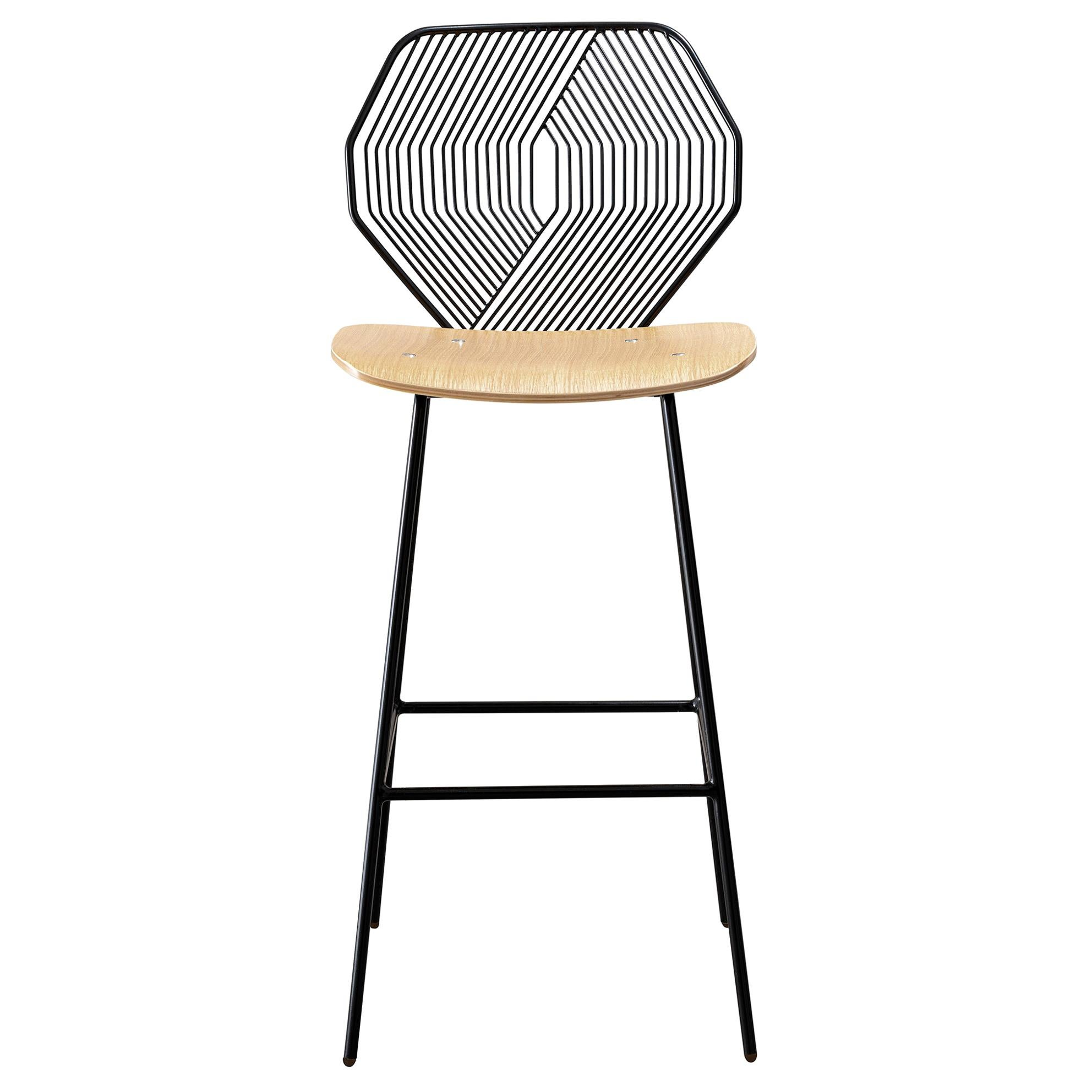 Modern Wire Counter Stool with a Wood Seat, Wood and Wire Counter Stool in Black