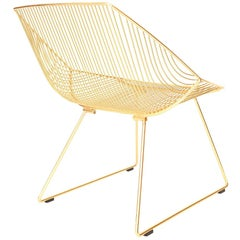 "Modern Wire Lounge Chair ""The Bunny"" in Gold by Bend Goods"