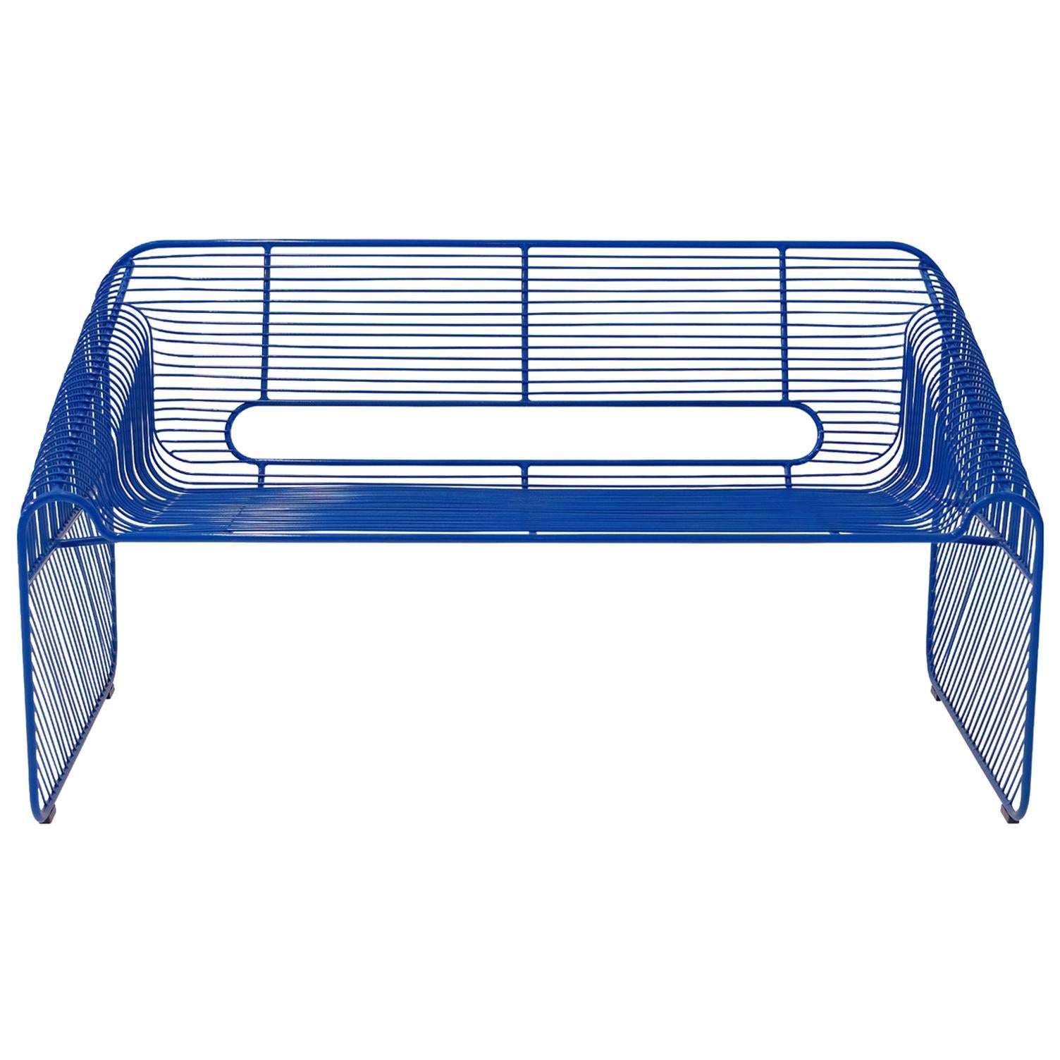 Modern Wire Loveseat in Electric Blue by Bend Goods