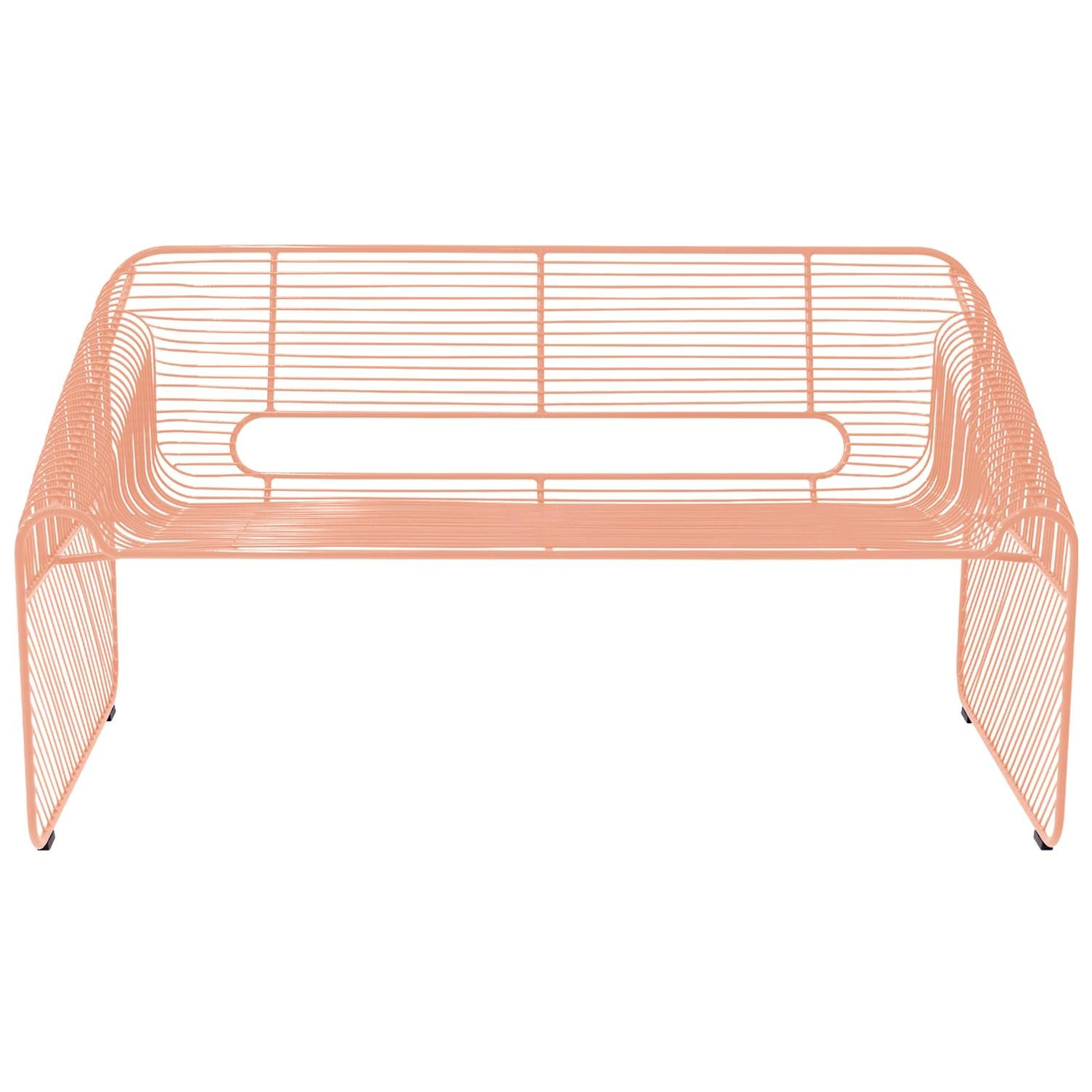 Modern Wire Loveseat in Peachy Pink by Bend Goods