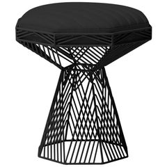 Modern Wire Stool, in Black with a Reversible Black Leather Top