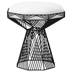 Modern Wire Stool, in Black with a Reversible White Leather Top