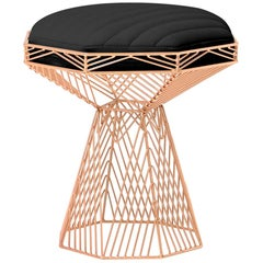 Modern Wire Stool, in Copper with a Reversible Black Leather Top