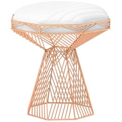 Modern Wire Stool, in Copper with a Reversible White Leather Top